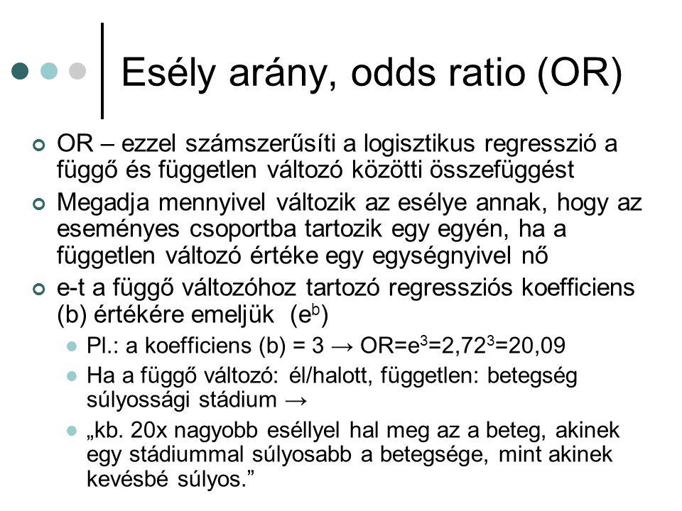 Esély arány, odds ratio (OR)