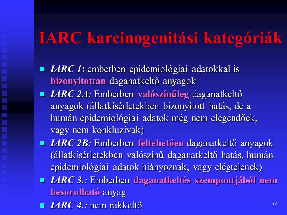 IARC karcinogenitási kategóriák