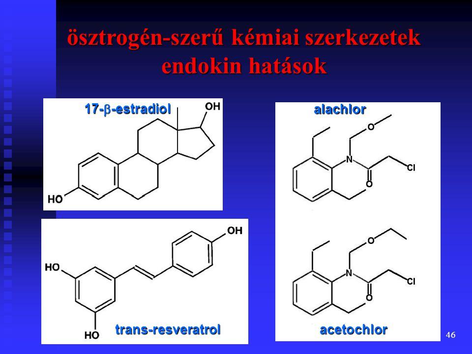 ösztrogén-szerű kémiai szerkezetek