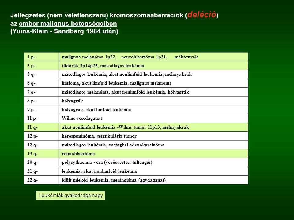 Jellegzetes (nem véletlenszerű) kromoszómaaberrációk (deléció)