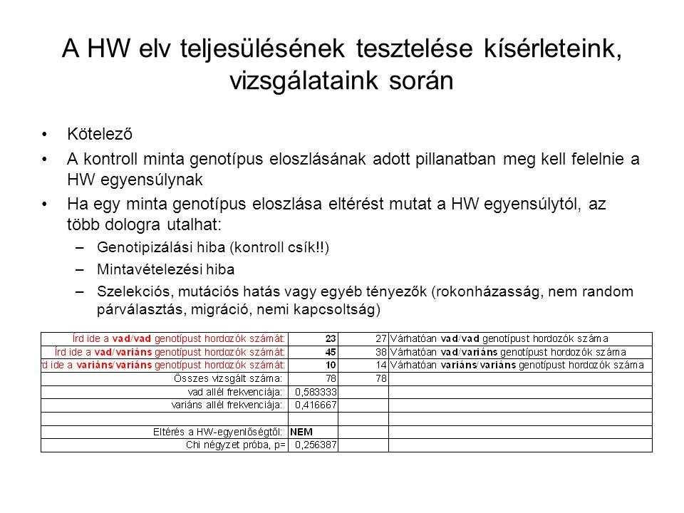 A HW elv teljesülésének tesztelése kísérleteink, vizsgálataink során