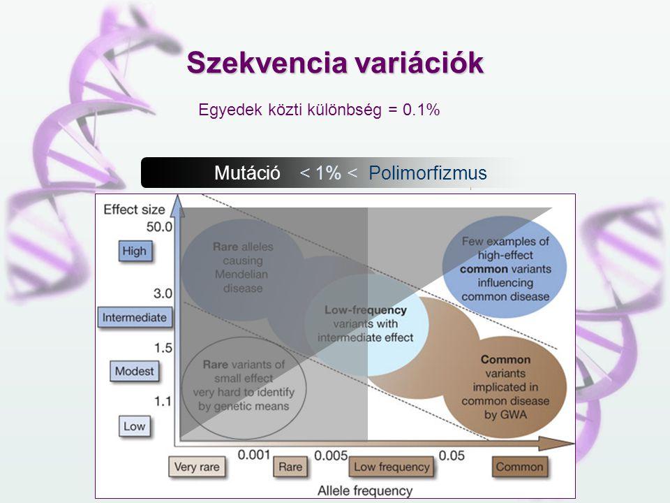 Mutáció < 1% < Polimorfizmus