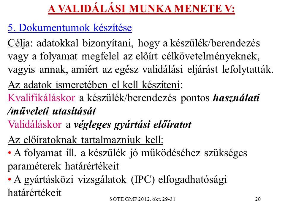 A VALIDÁLÁSI MUNKA MENETE V: