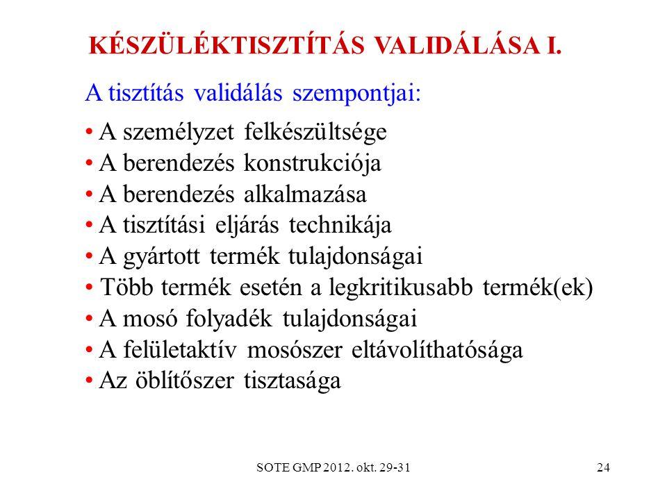 KÉSZÜLÉKTISZTÍTÁS VALIDÁLÁSA I.