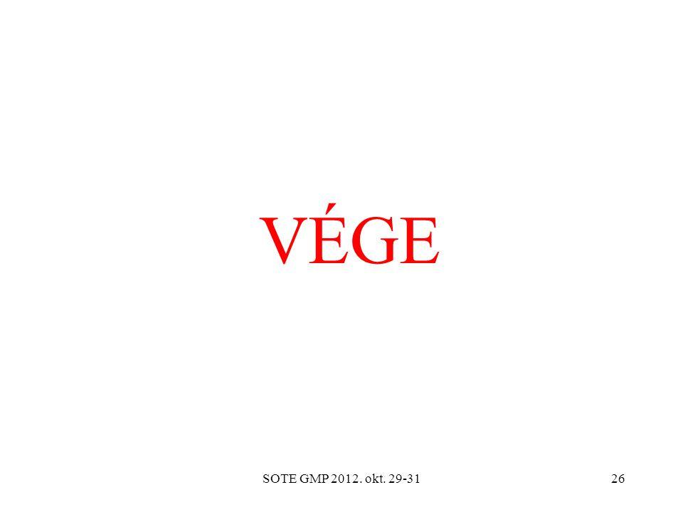 VÉGE SOTE GMP 2012. okt. 29-31