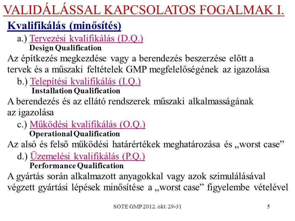 VALIDÁLÁSSAL KAPCSOLATOS FOGALMAK I.