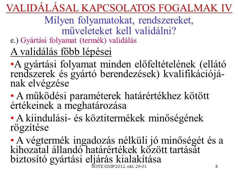 VALIDÁLÁSAL KAPCSOLATOS FOGALMAK IV Milyen folyamatokat, rendszereket,