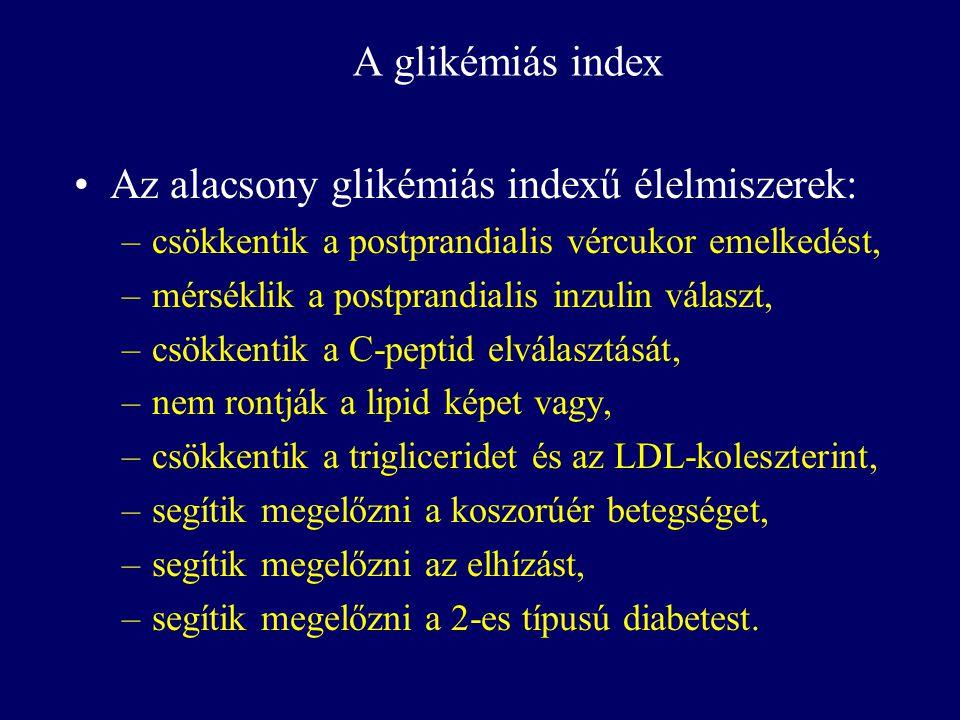 Az alacsony glikémiás indexű élelmiszerek: