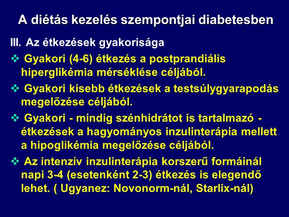 A diétás kezelés szempontjai diabetesben