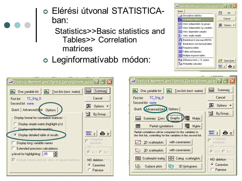 Elérési útvonal STATISTICA-ban: