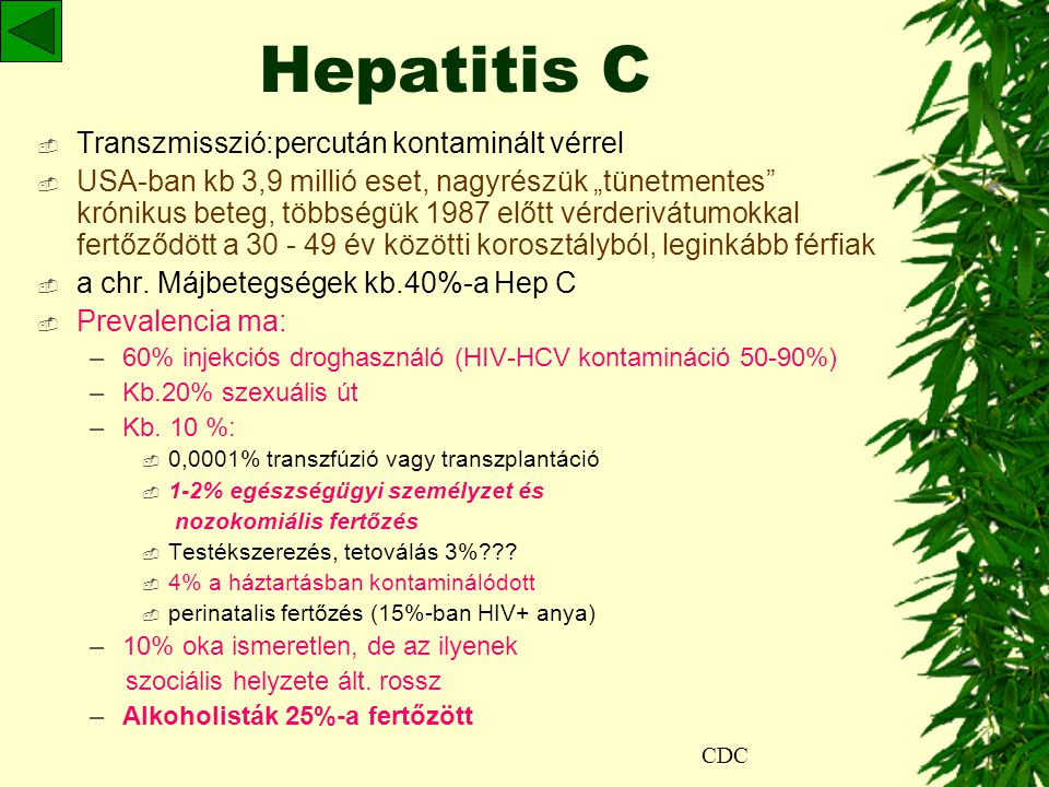 Hepatitis C Transzmisszió:percután kontaminált vérrel
