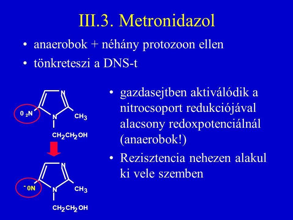 III.3. Metronidazol anaerobok + néhány protozoon ellen