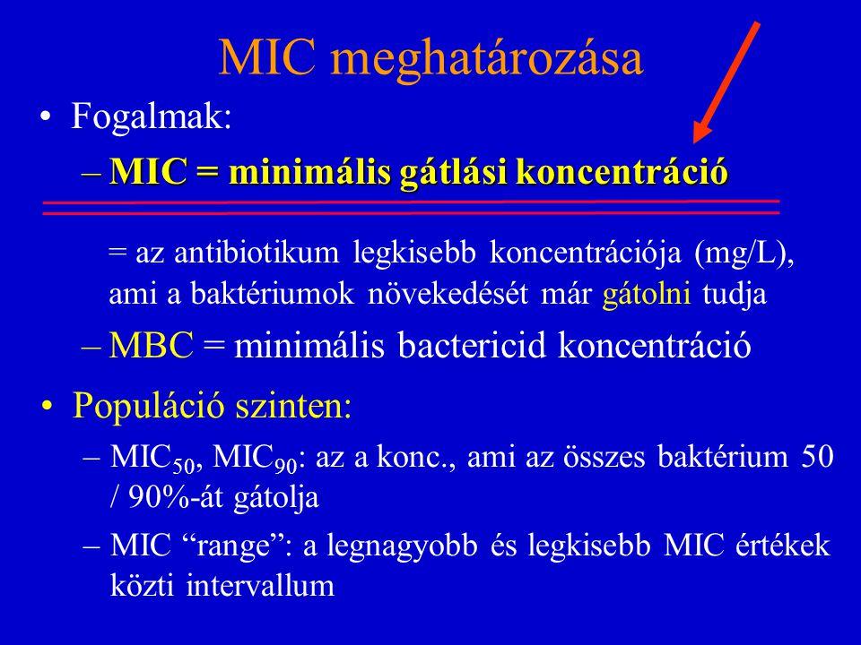 MIC meghatározása Fogalmak: MIC = minimális gátlási koncentráció
