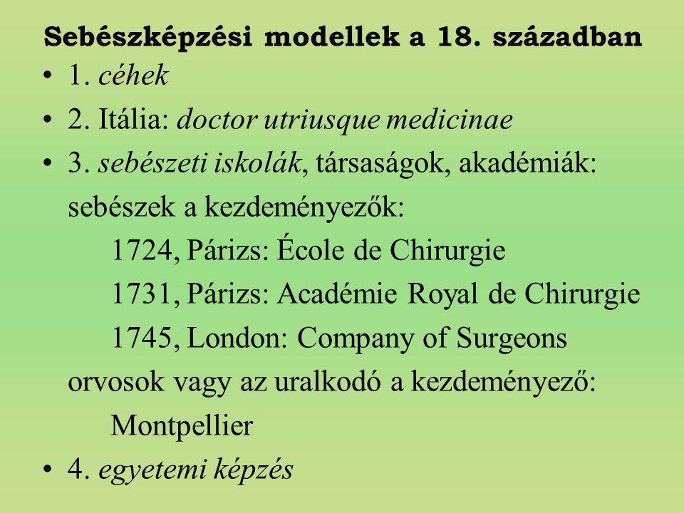 Sebészképzési modellek a 18. században