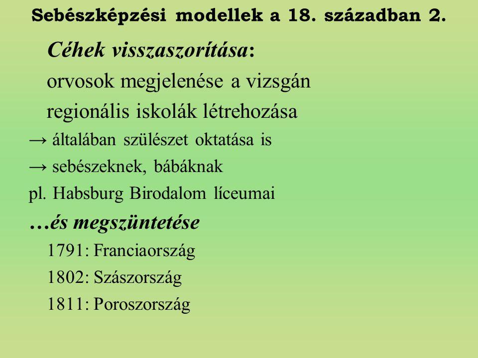 Sebészképzési modellek a 18. században 2.