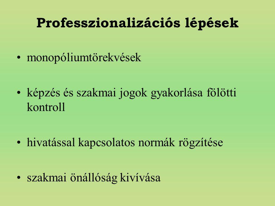 Professzionalizációs lépések