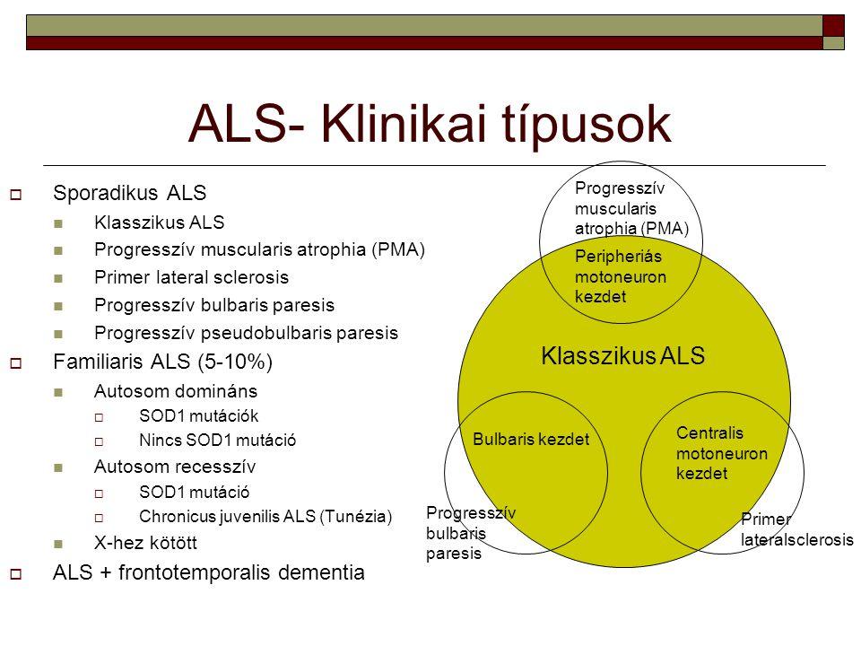 ALS- Klinikai típusok Klasszikus ALS Sporadikus ALS