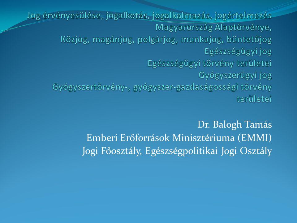 Jog érvényesülése, jogalkotás, jogalkalmazás, jogértelmezés Magyarország Alaptörvénye, Közjog, magánjog, polgárjog, munkajog, büntetőjog Egészségügyi jog Egészségügyi törvény területei Gyógyszerügyi jog Gyógyszertörvény-, gyógyszer-gazdaságossági törvény területei