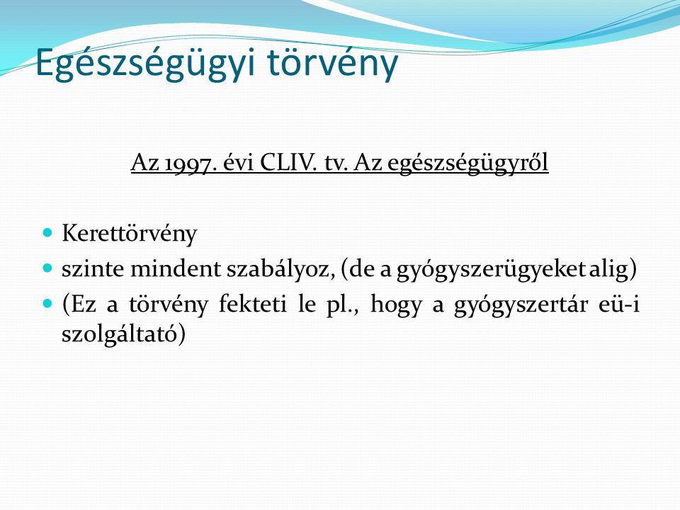 Az 1997. évi CLIV. tv. Az egészségügyről