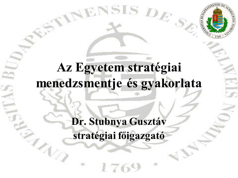 Az Egyetem stratégiai menedzsmentje és gyakorlata