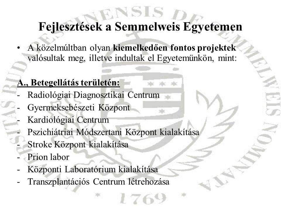 Fejlesztések a Semmelweis Egyetemen