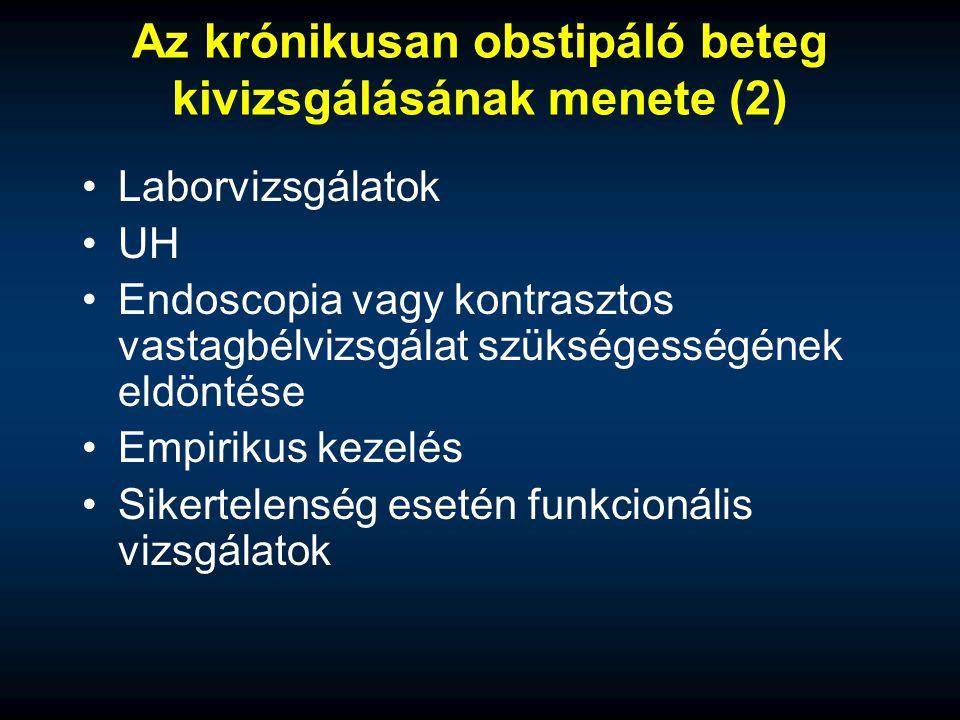 Az krónikusan obstipáló beteg kivizsgálásának menete (2)
