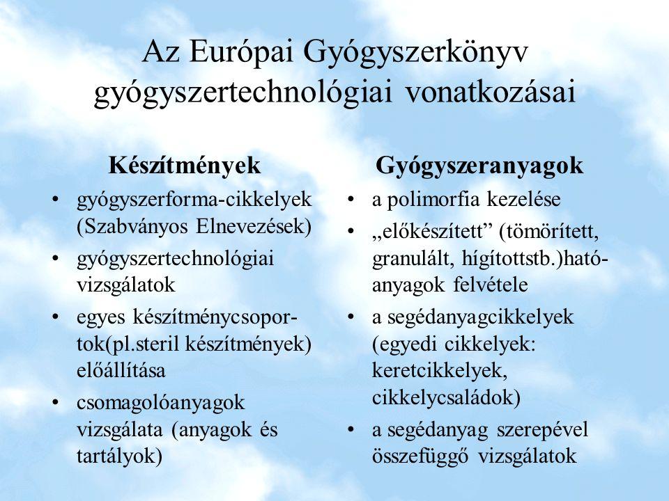 Az Európai Gyógyszerkönyv gyógyszertechnológiai vonatkozásai