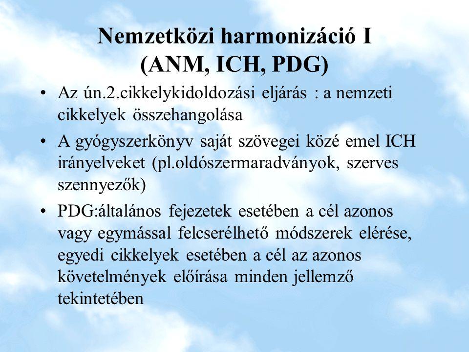 Nemzetközi harmonizáció I (ANM, ICH, PDG)