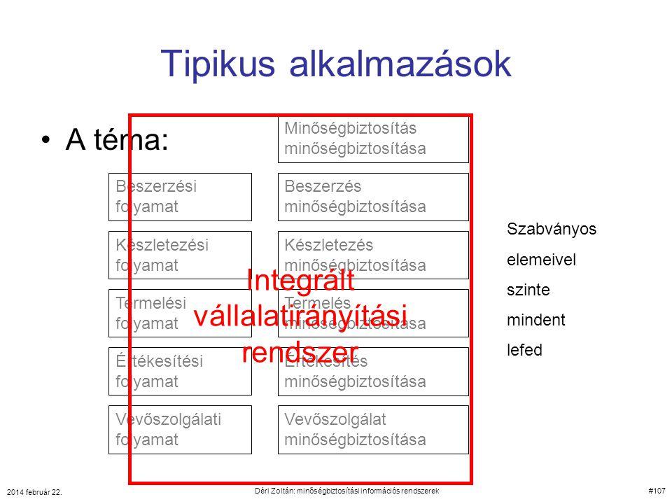 Tipikus alkalmazások A téma: Integrált vállalatirányítási rendszer