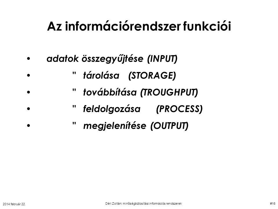 Az információrendszer funkciói