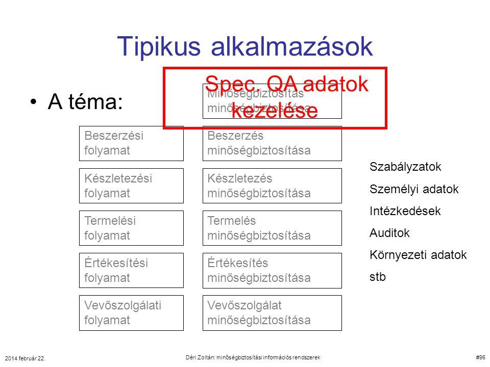 Tipikus alkalmazások Spec. QA adatok kezelése A téma: