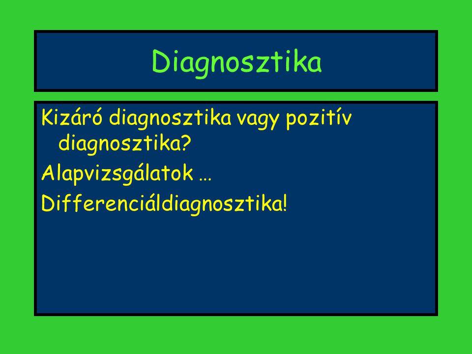 Diagnosztika Kizáró diagnosztika vagy pozitív diagnosztika