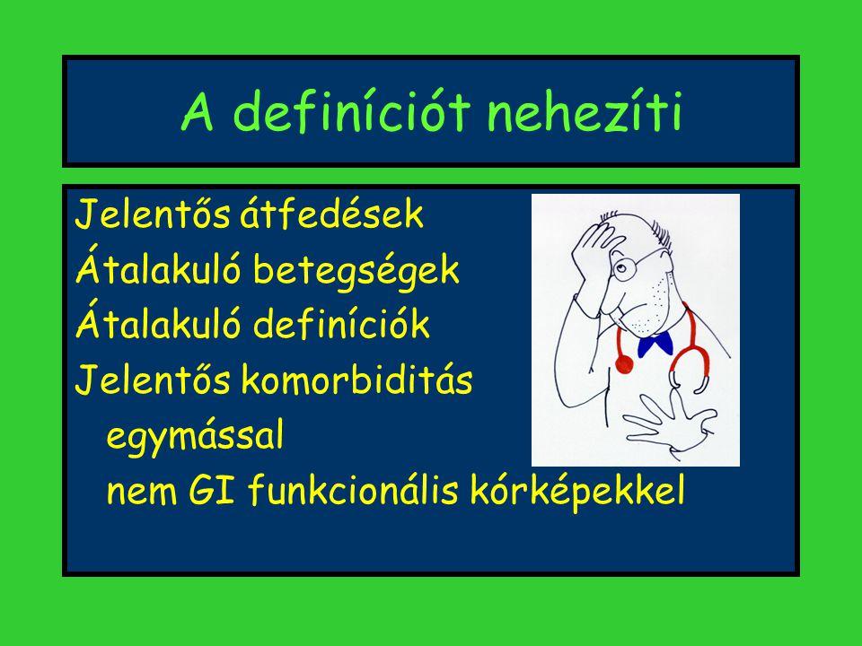 A definíciót nehezíti Jelentős átfedések Átalakuló betegségek