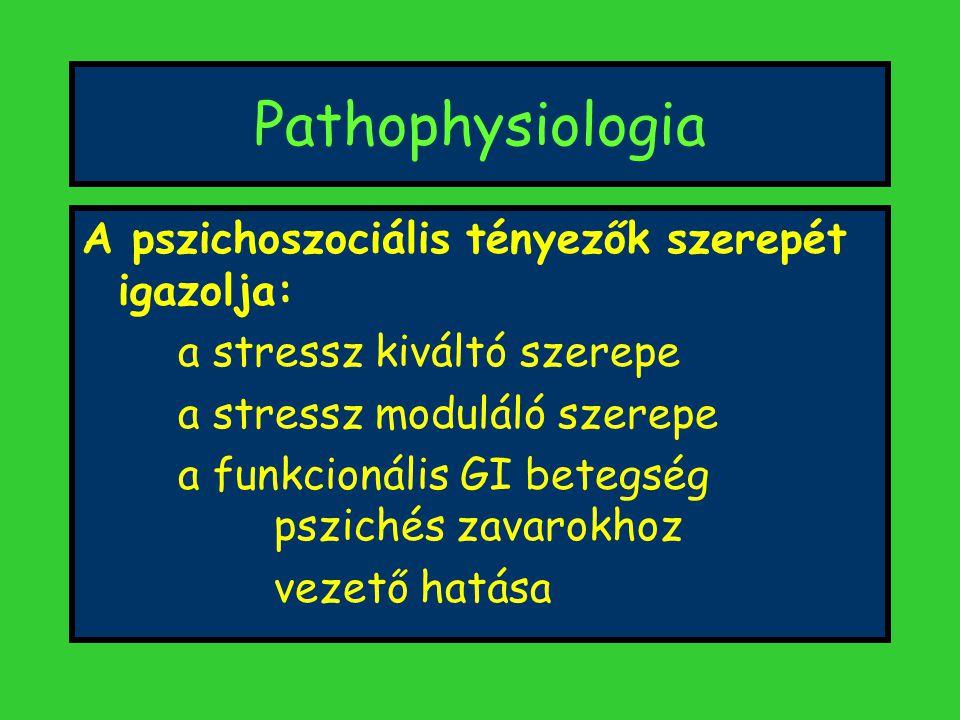 Pathophysiologia A pszichoszociális tényezők szerepét igazolja: