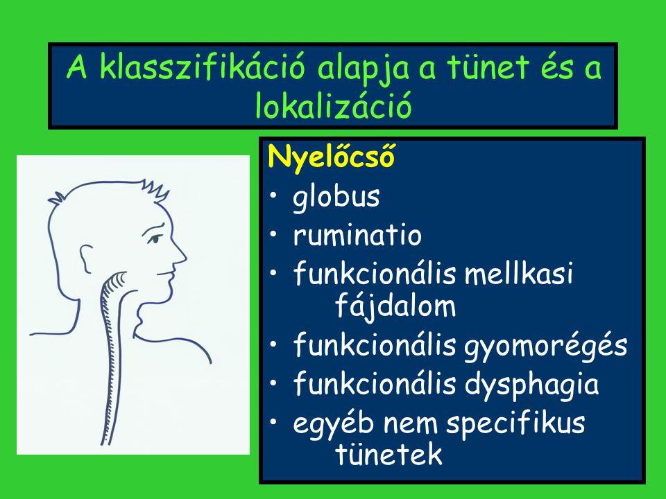 A klasszifikáció alapja a tünet és a lokalizáció