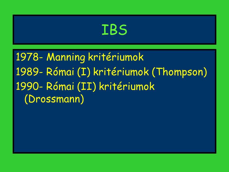 IBS 1978- Manning kritériumok 1989- Római (I) kritériumok (Thompson)