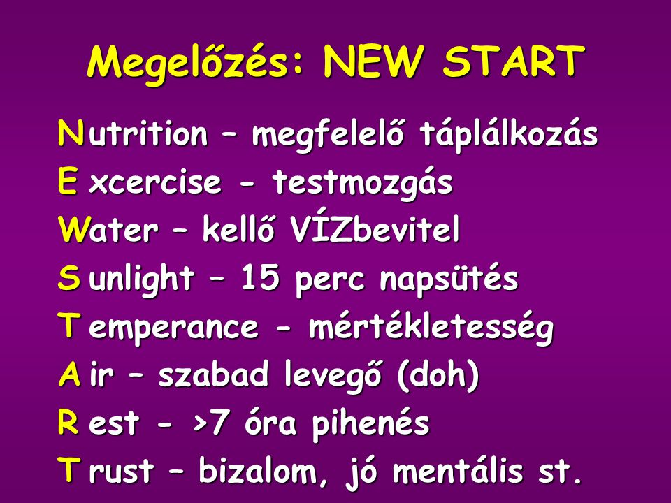 Megelőzés: NEW START N E W S T A R utrition – megfelelő táplálkozás