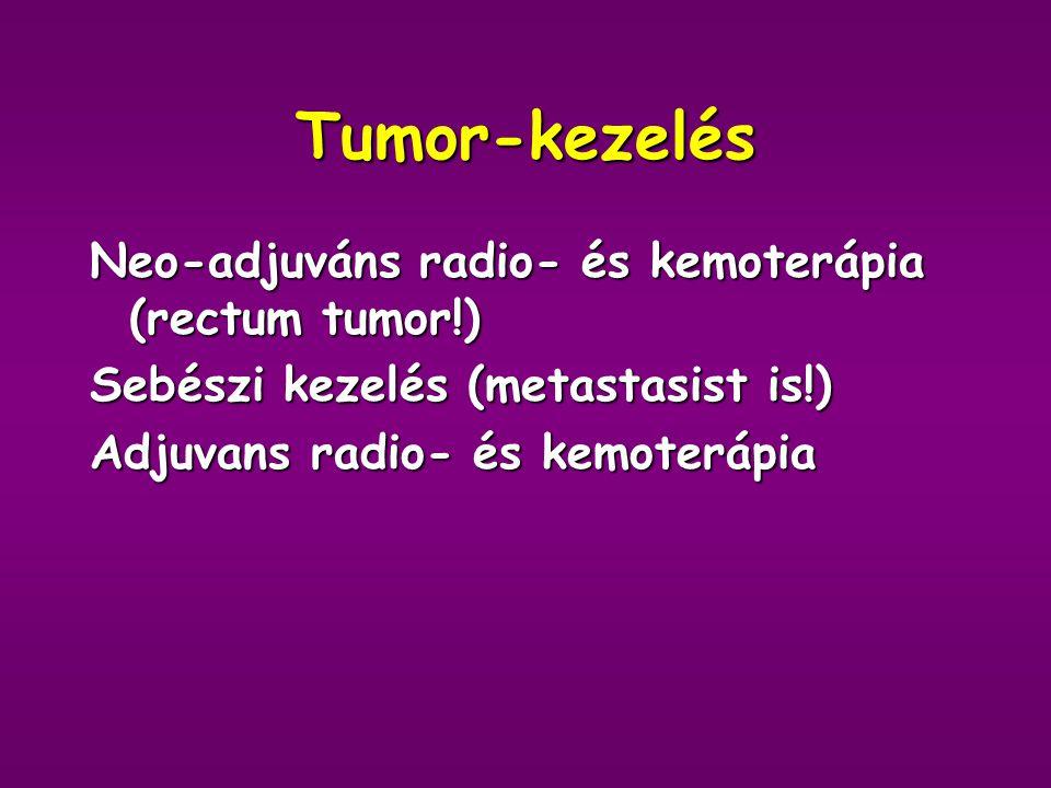 Tumor-kezelés Neo-adjuváns radio- és kemoterápia (rectum tumor!)