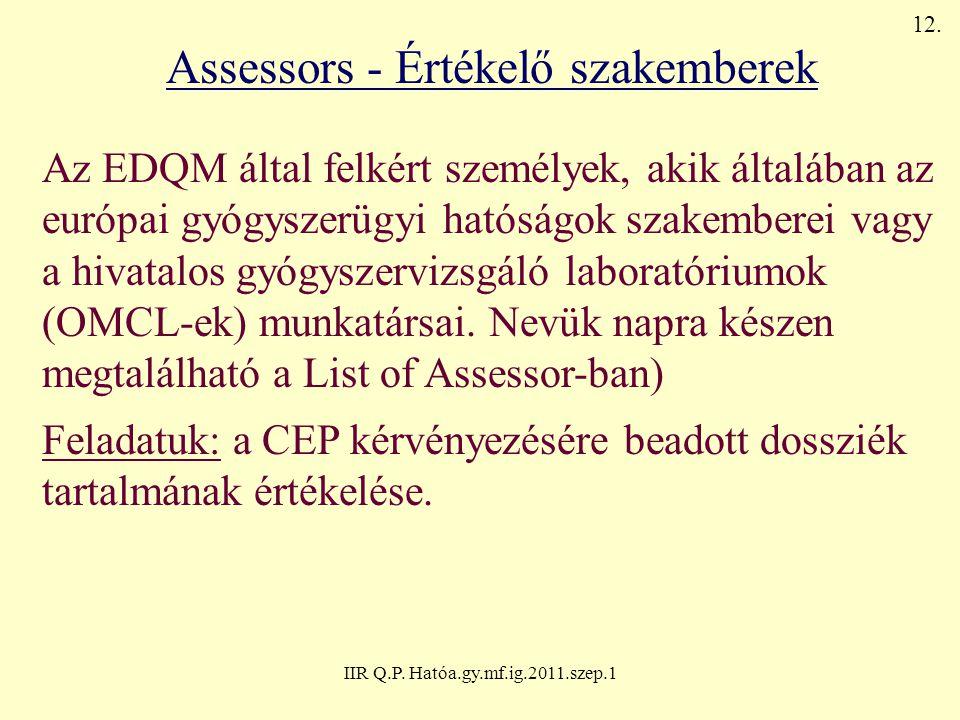 Assessors - Értékelő szakemberek