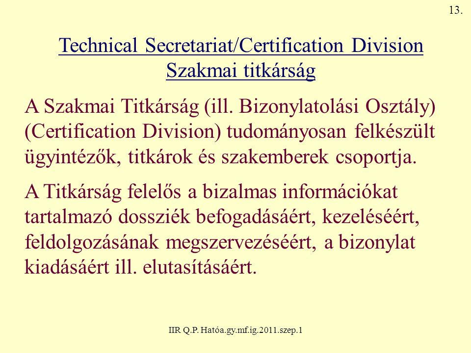 Technical Secretariat/Certification Division Szakmai titkárság