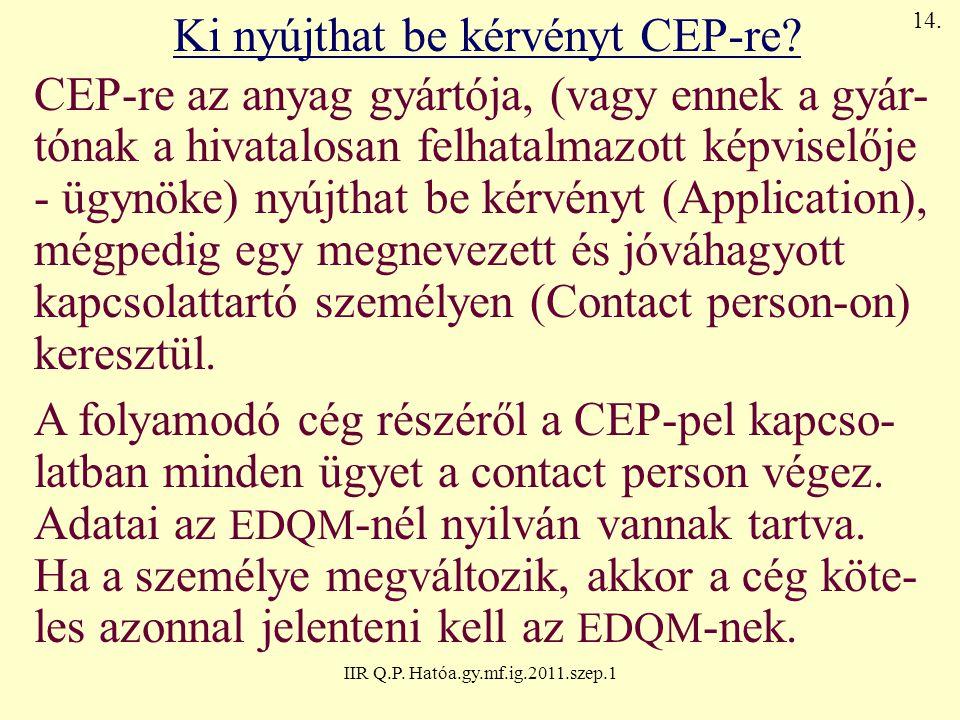 Ki nyújthat be kérvényt CEP-re