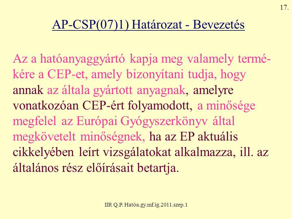 AP-CSP(07)1) Határozat - Bevezetés