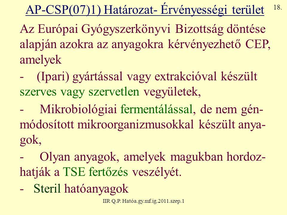 AP-CSP(07)1) Határozat- Érvényességi terület