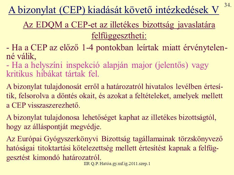 A bizonylat (CEP) kiadását követő intézkedések V