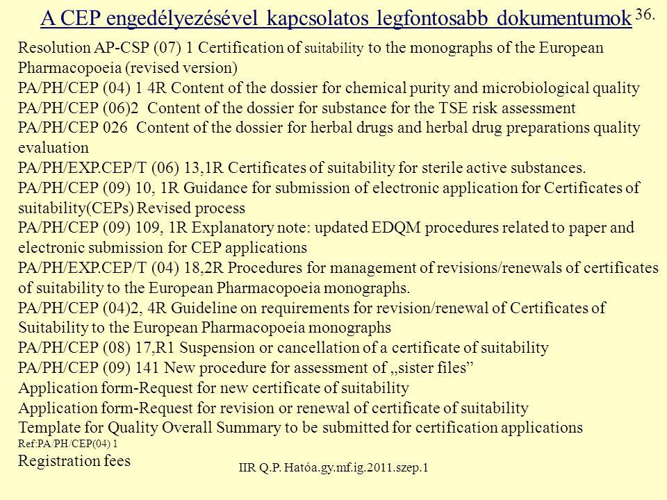 A CEP engedélyezésével kapcsolatos legfontosabb dokumentumok