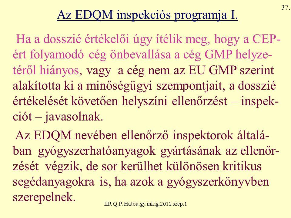 Az EDQM inspekciós programja I.