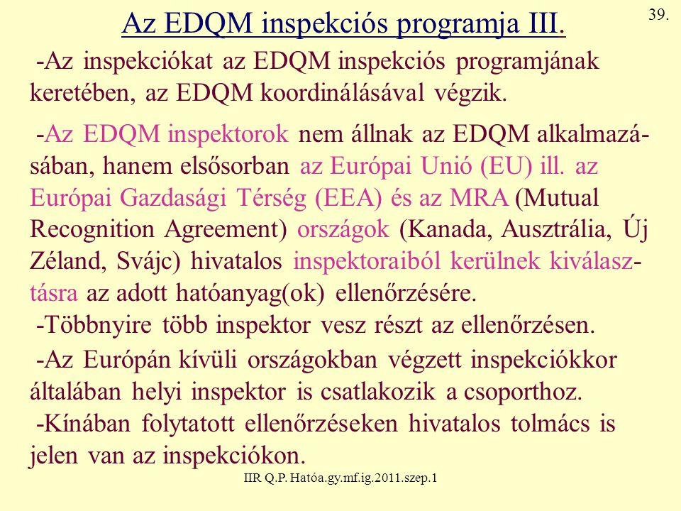 Az EDQM inspekciós programja III.