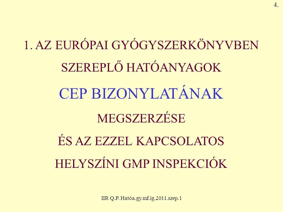 CEP BIZONYLATÁNAK 1. AZ EURÓPAI GYÓGYSZERKÖNYVBEN SZEREPLŐ HATÓANYAGOK