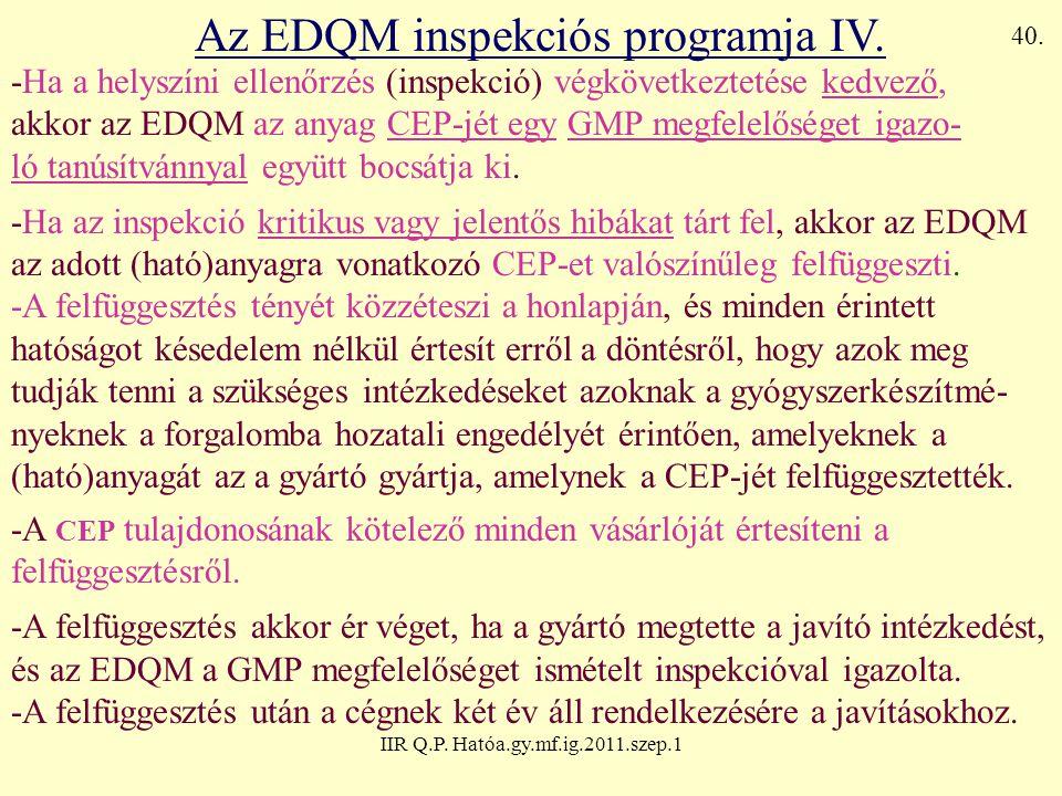 Az EDQM inspekciós programja IV.