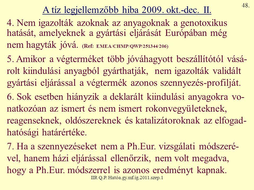 A tíz legjellemzőbb hiba 2009. okt.-dec. II.